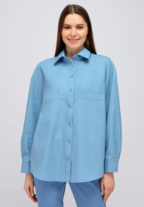женская блузка с длинным рукавом viserdi, голубая