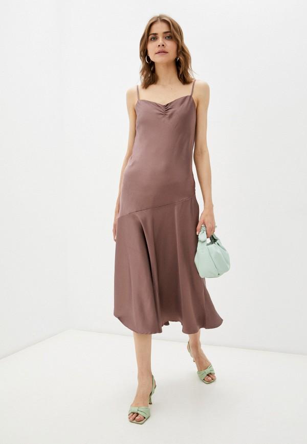 женское платье-комбинация incity, коричневое