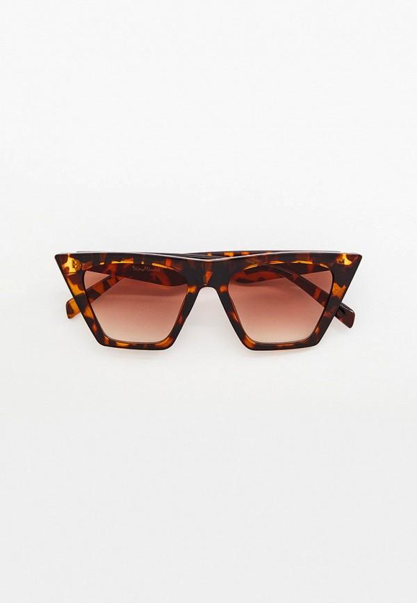 женские солнцезащитные очки кошачьи глаза wow miami, коричневые