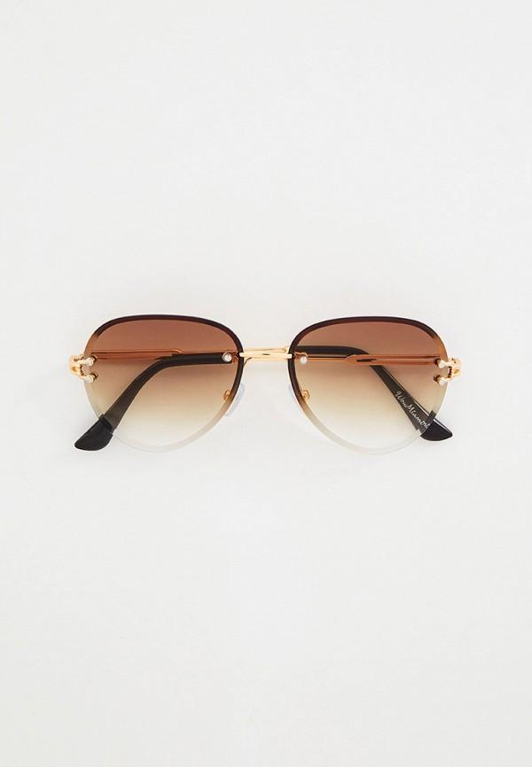 женские авиаторы солнцезащитные очки wow miami, коричневые