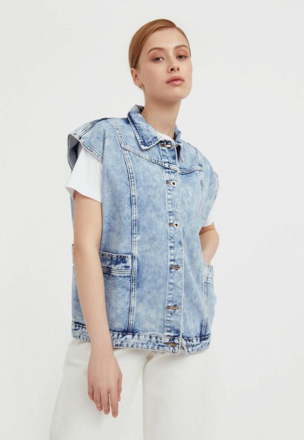 женский джинсовые жилет finn flare, голубой