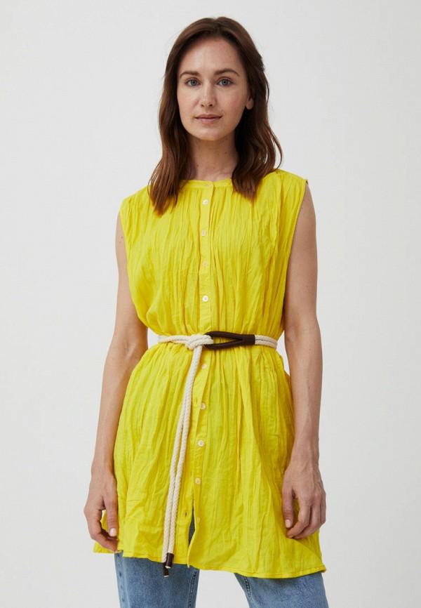 женская блузка без рукавов finn flare, желтая