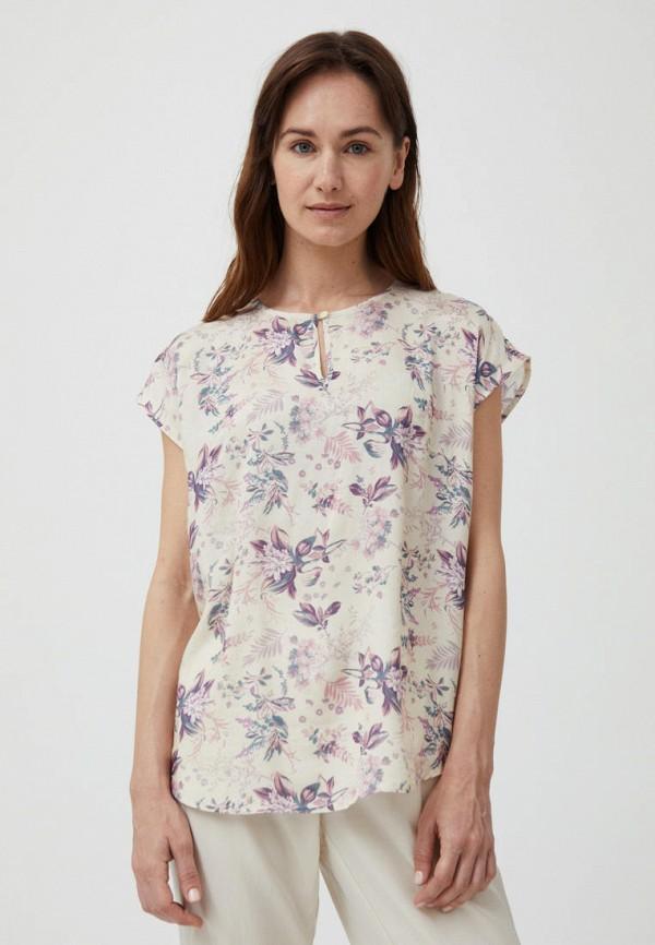 женская блузка с коротким рукавом finn flare, бежевая
