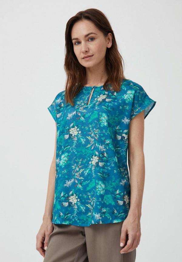 женская блузка с коротким рукавом finn flare, синяя