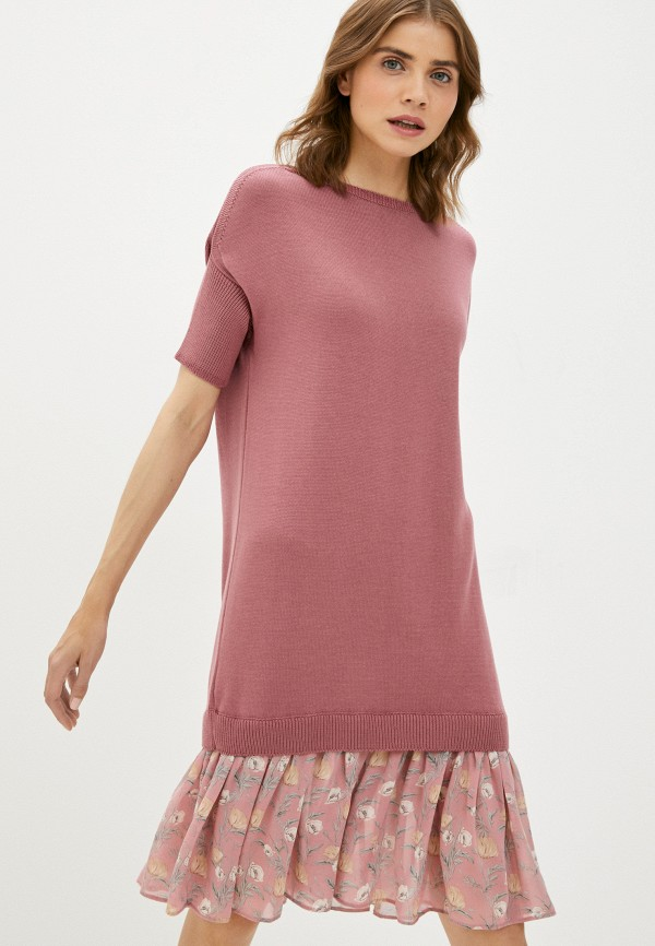 женское платье-свитеры сиринга, розовое