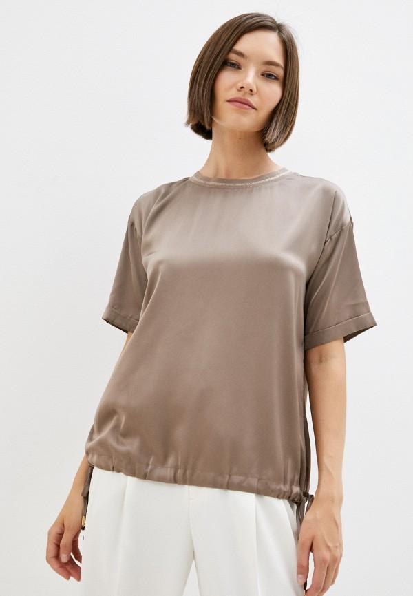 женская блузка с коротким рукавом lusio, коричневая