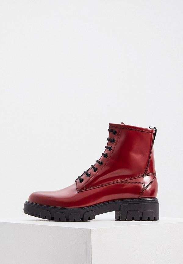 женские высокие ботинки hugo, бордовые