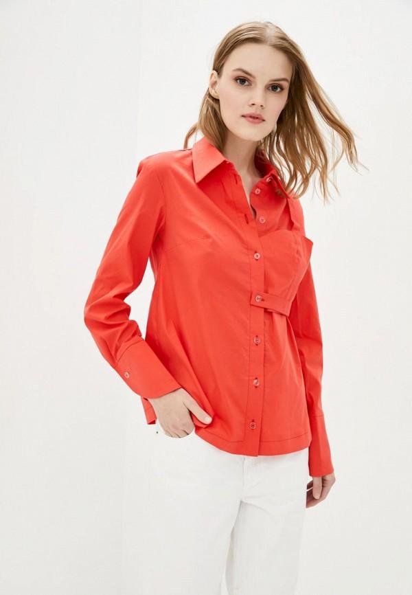 женская рубашка с длинным рукавом ricamare, красная