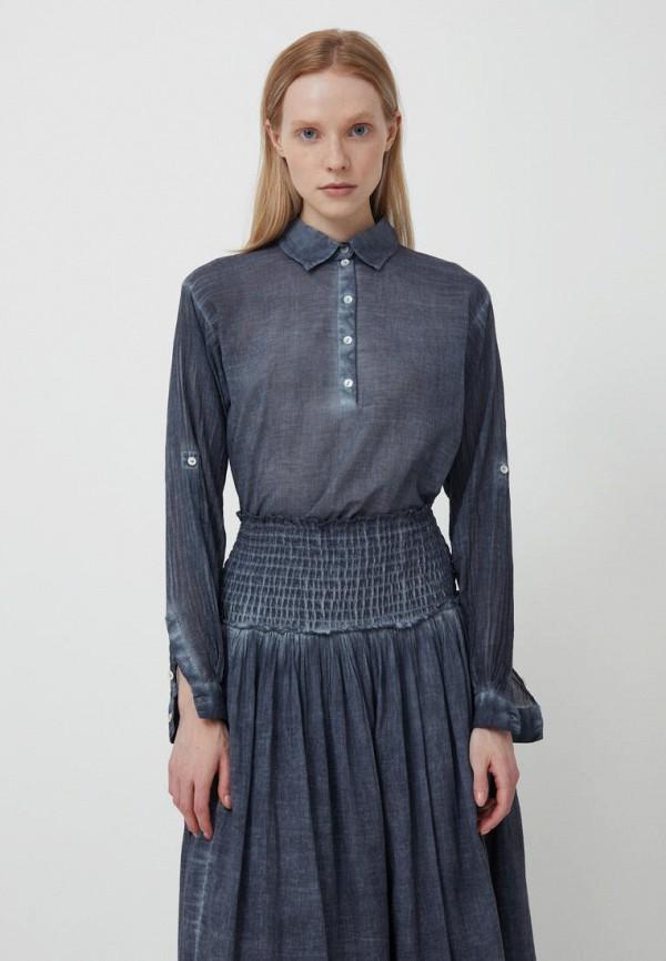 женская рубашка с длинным рукавом finn flare, синяя
