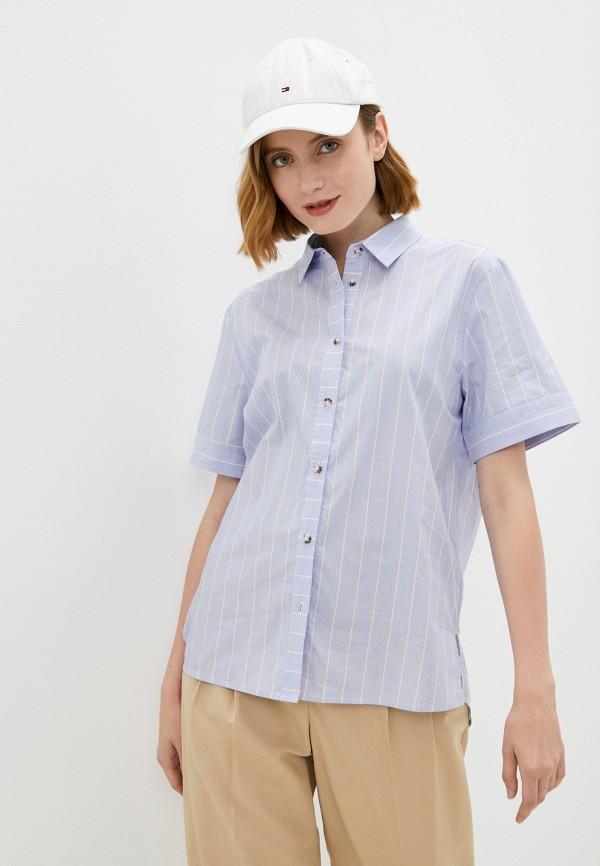 женская рубашка с коротким рукавом baon, голубая