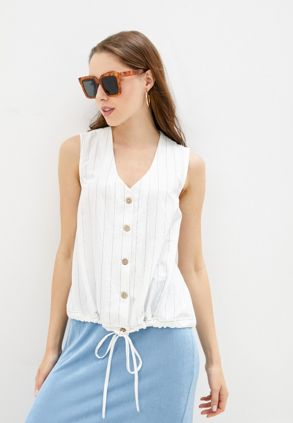 женская блузка без рукавов baon, белая