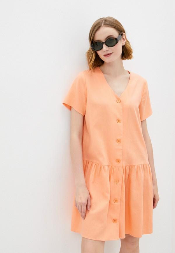 женское повседневные платье baon, оранжевое