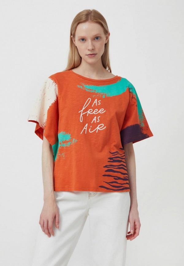 женская футболка finn flare, оранжевая