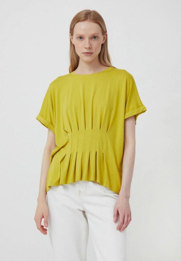 женская футболка finn flare, желтая