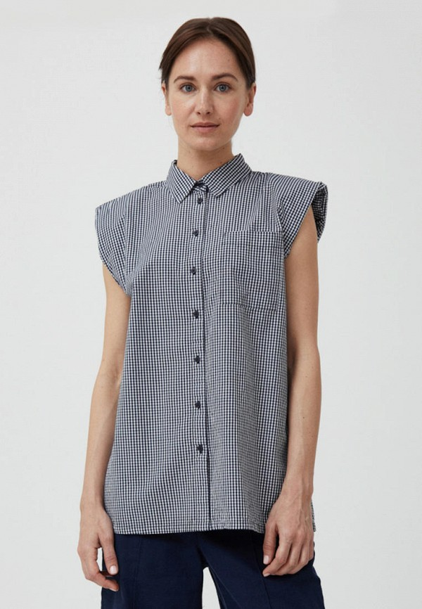 женская рубашка с коротким рукавом finn flare, синяя