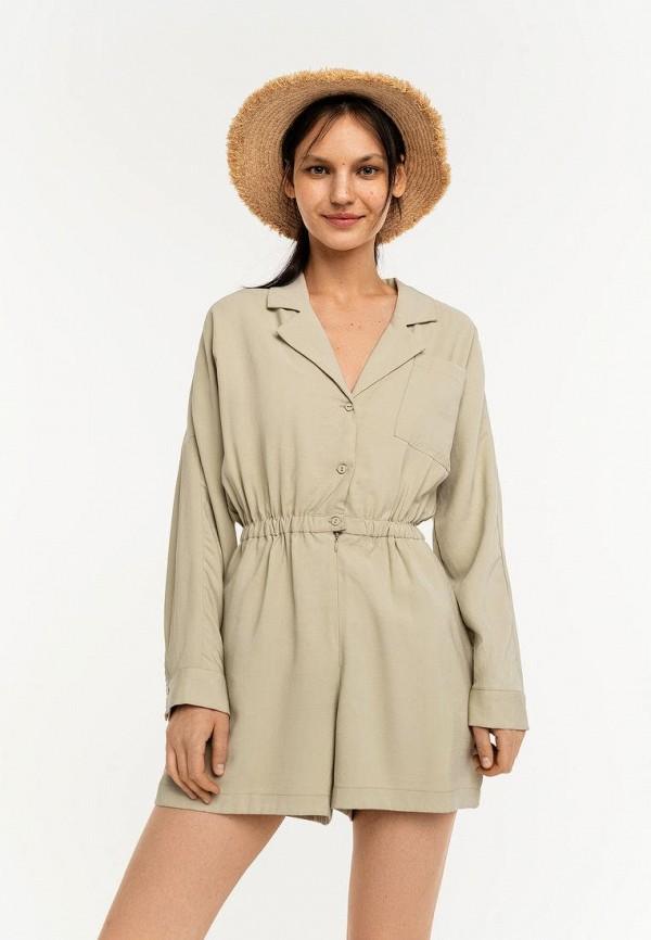 женский комбинезон с шортами befree, зеленый