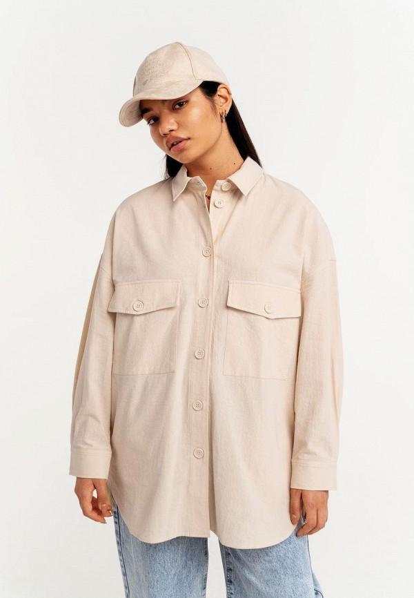 женская рубашка с длинным рукавом befree, бежевая