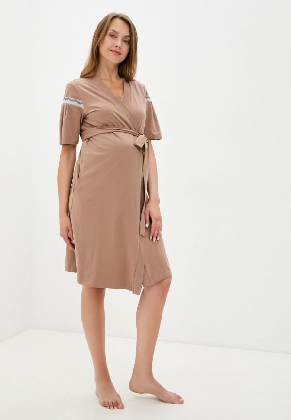 женский халат all mixes, коричневый