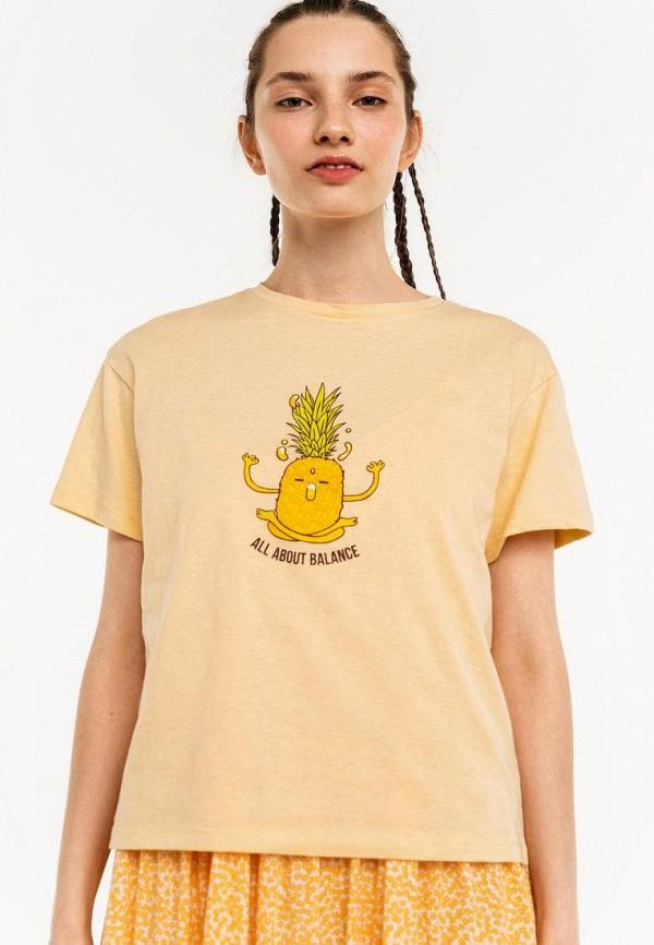 женская футболка befree, бежевая