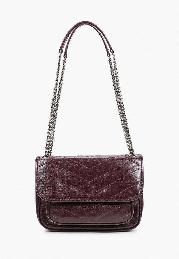 женская сумка через плечо basconi, бордовая