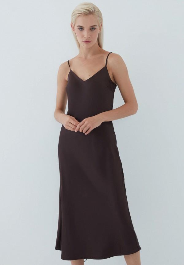 женское платье-комбинация zarina, коричневое