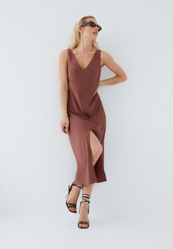 женское повседневные платье zarina, коричневое