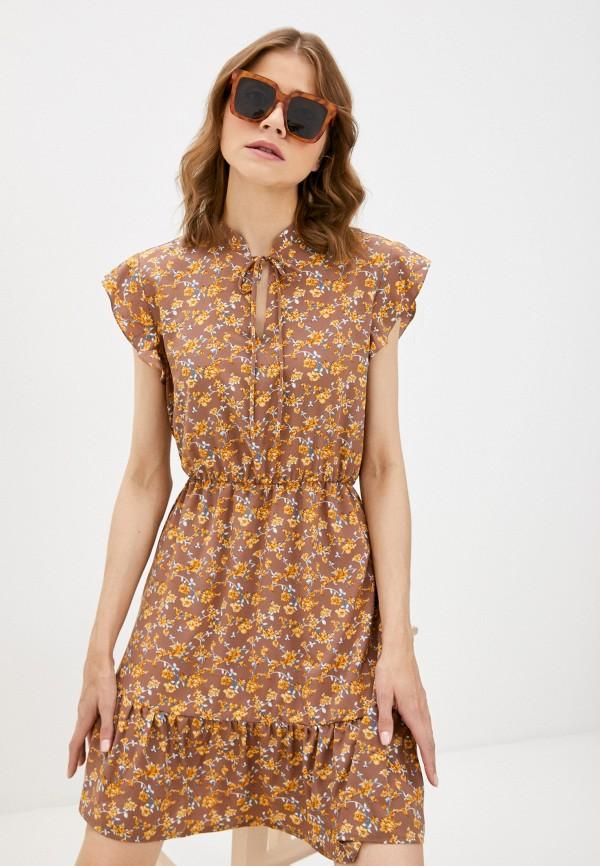 женское повседневные платье froggi, коричневое