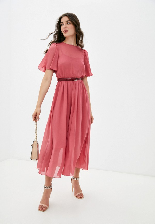 женское повседневные платье арт-деко, розовое