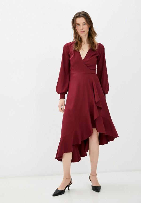 женское платье с запахом patricia charme, бордовое