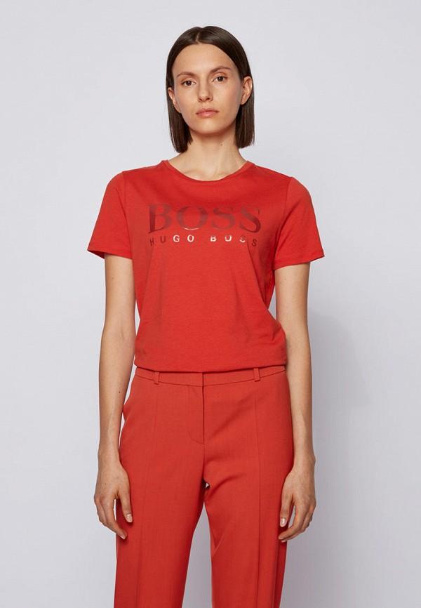 женская футболка boss, оранжевая