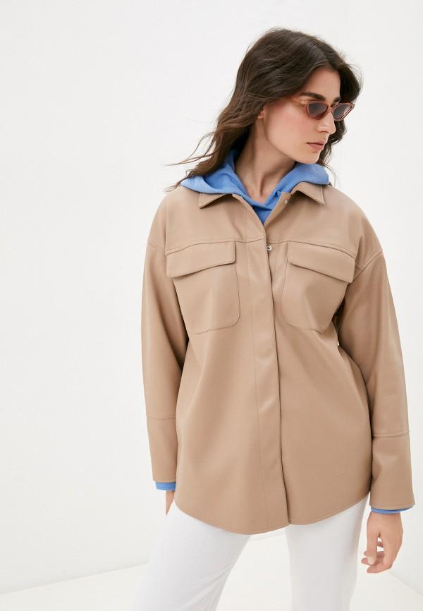 женская кожаные куртка befree, коричневая