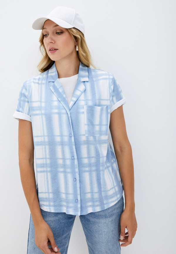 женская рубашка с коротким рукавом befree, голубая