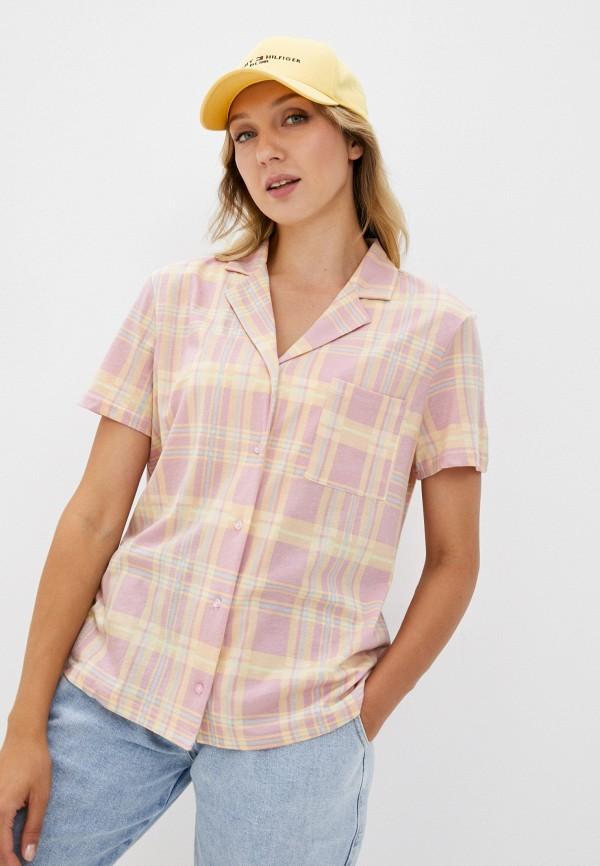 женская рубашка с коротким рукавом befree, розовая