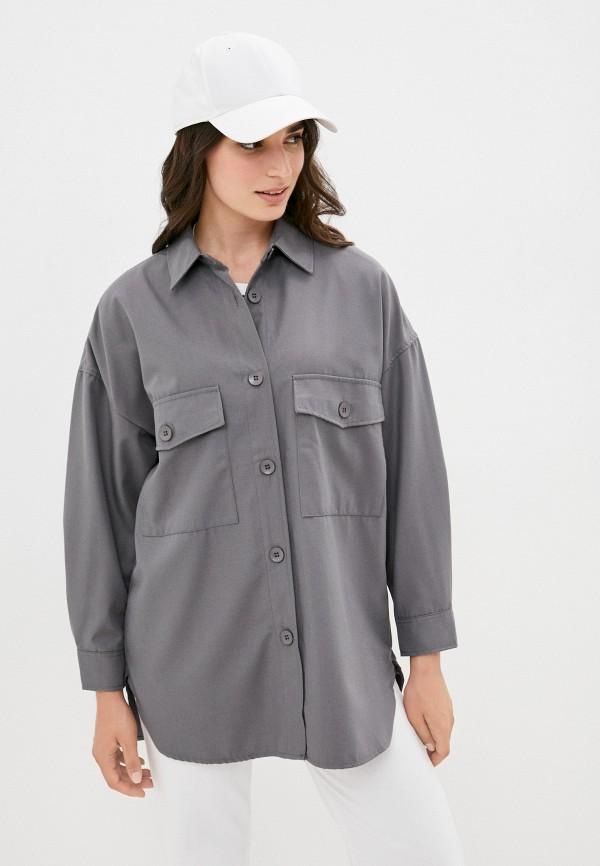 женская рубашка с длинным рукавом befree, серая
