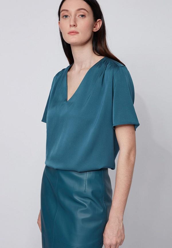 женская блузка с коротким рукавом boss, бирюзовая