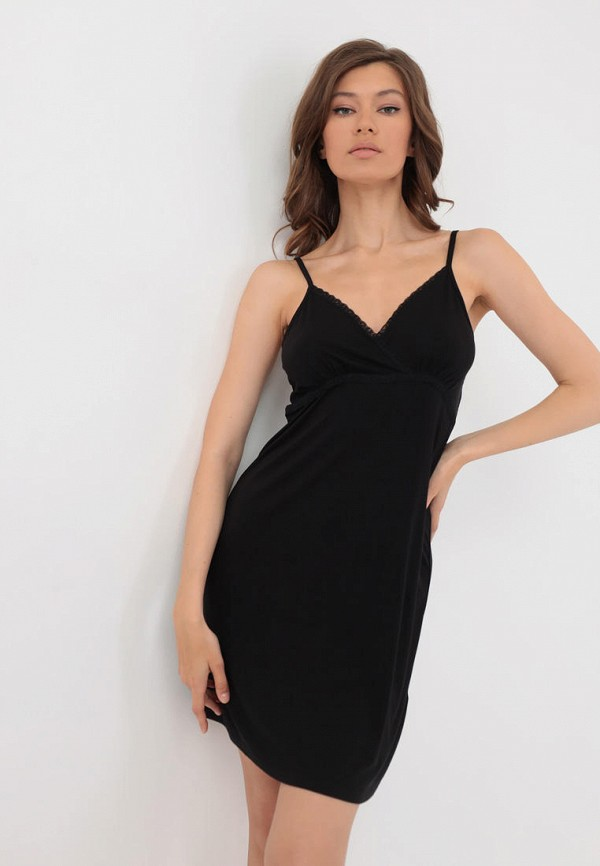 Сорочка ночная Luisa Moretti черного цвета