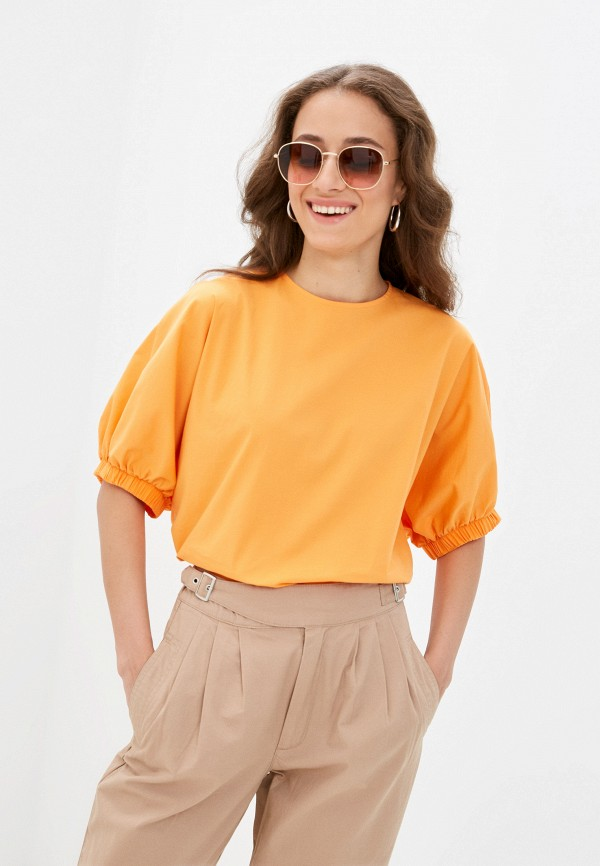 женская блузка с коротким рукавом mark formelle, оранжевая