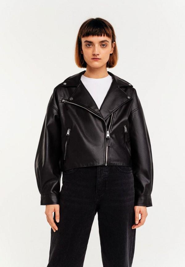 женская кожаные куртка befree, черная