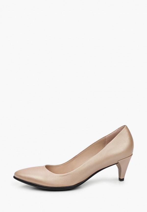 женские туфли с закрытым носом ecco, золотые