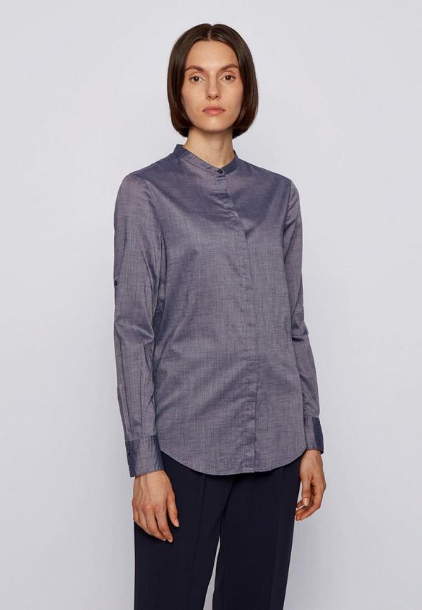 женская рубашка с длинным рукавом boss, синяя