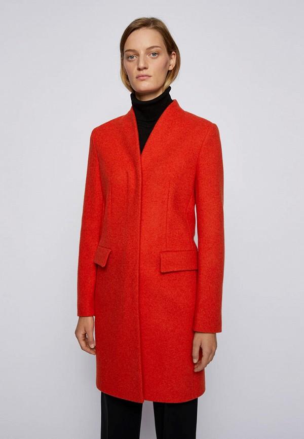 женское пальто boss, оранжевое