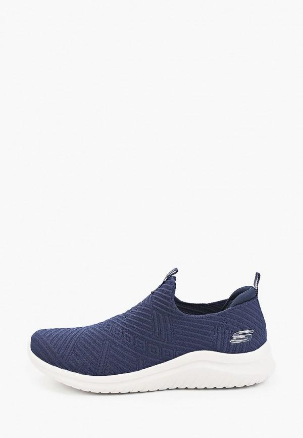 женские низкие кроссовки skechers, синие