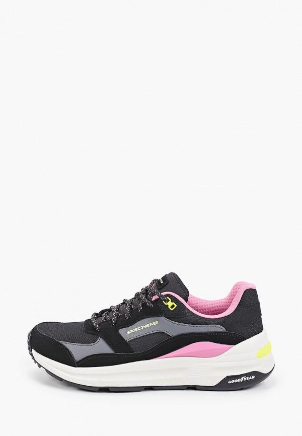 женские низкие кроссовки skechers, черные