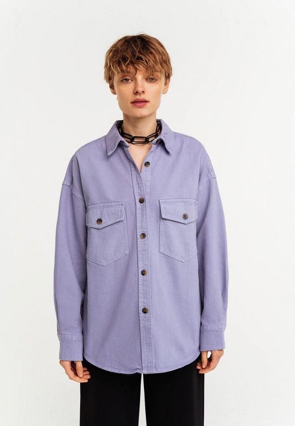 женская джинсовые рубашка befree, фиолетовая