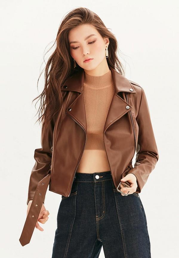 женская куртка косухи love republic, коричневая
