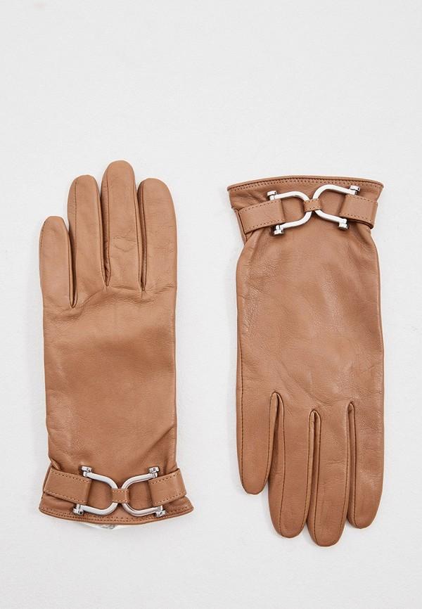 женские кожаные перчатки boss, коричневые