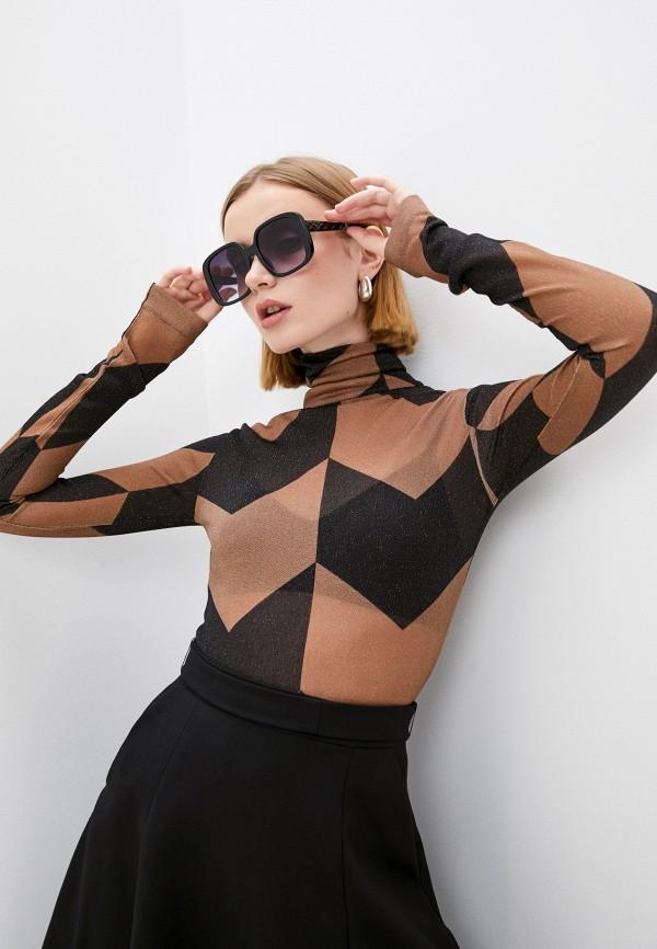 женская блузка с длинным рукавом boss, коричневая