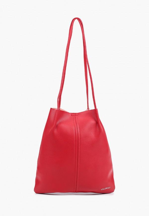 женская сумка-шоперы lolli l polli, красная
