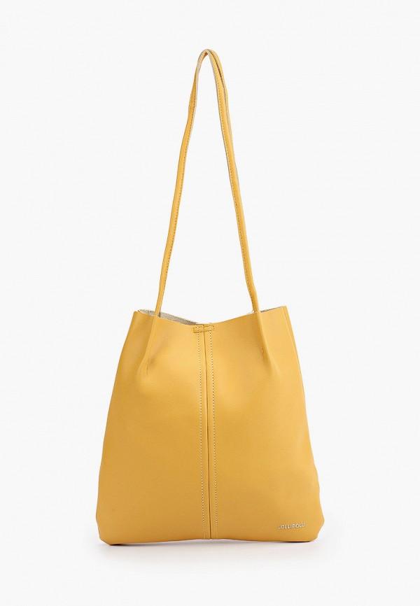 женская сумка с ручками lolli l polli, желтая