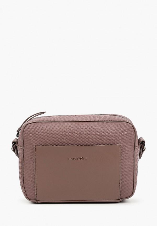 женская сумка через плечо thomas munz, фиолетовая